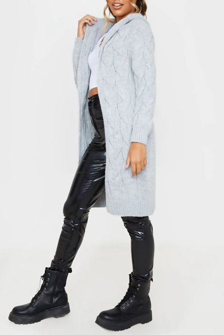 Grey Cable Knit Hood Cardigan PreOrder