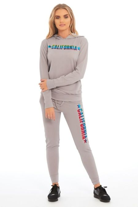 Grey California Hood Skinny Fit Tracksuit