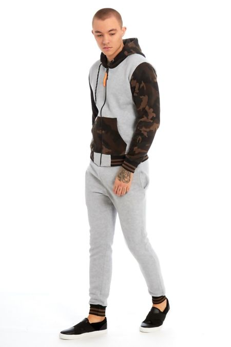 Grey Camo Spliced Panel Skinny Fit Tracksuit