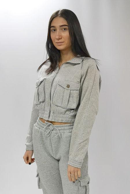 Grey Cargo Pocket Cropped Sweatshirt