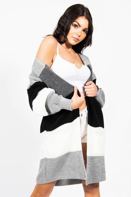 Grey Colour Block Longline Cardigan