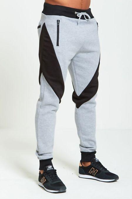 Grey Contrast Panel Jogging Bottom