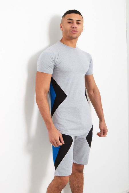 Grey Contrast Triangle Panel T-Shirt and Short Set