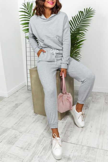 Grey Crop Hood Lounge-wear Set
