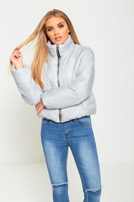 Grey Cropped High Neck Puffer Jacket