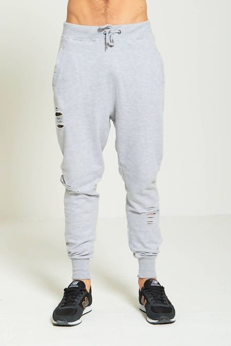 Grey Destroyed Skinny Jogging Bottom
