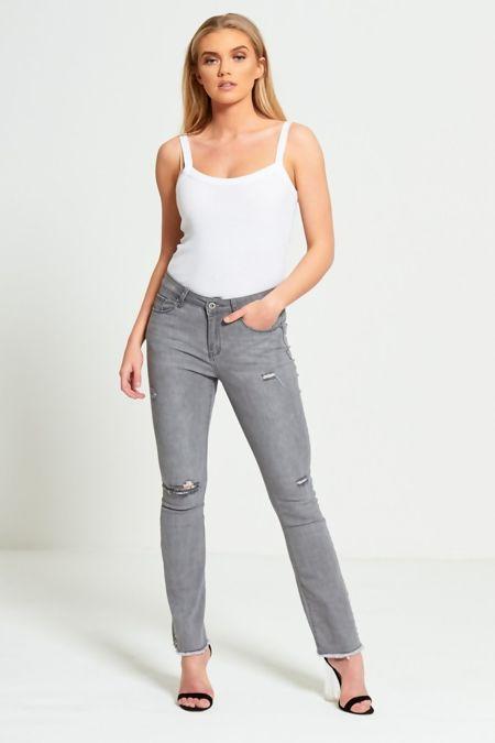 Grey Distressed Studded Hem Flared Jeans