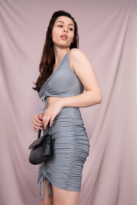 Grey Drawstring Ruched Crop Top And Skirt Co-Ord