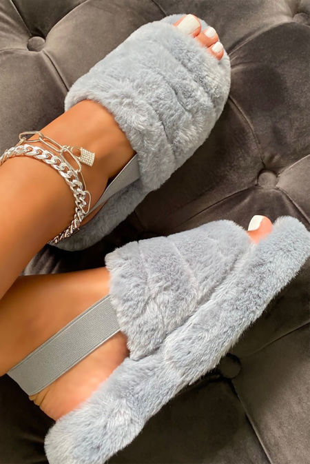 Silver Grey Faux Fur Fluffy Stripe Slipper