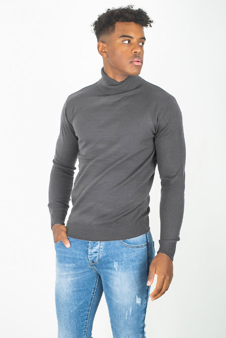 Grey Fine Knit Polo Neck Jumper