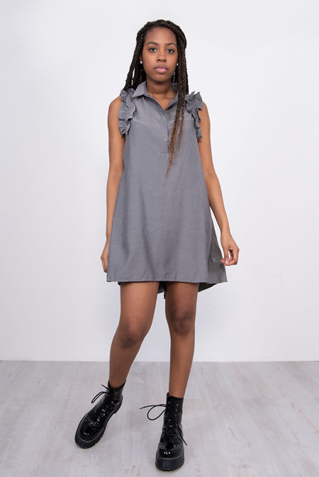 Grey Frill Sleeve Dip Hem Shirt Dress