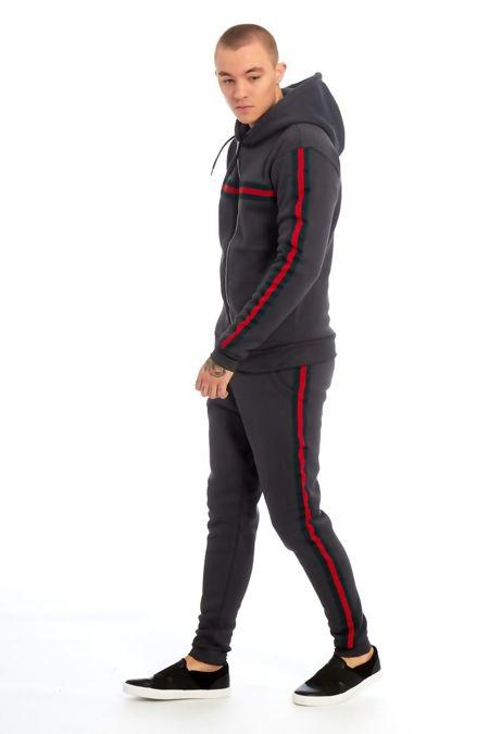 Grey Hood Multi Stripe Skinny Tracksuit