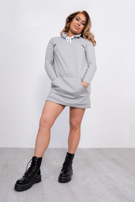 Grey Hooded Sweatshirt Dress