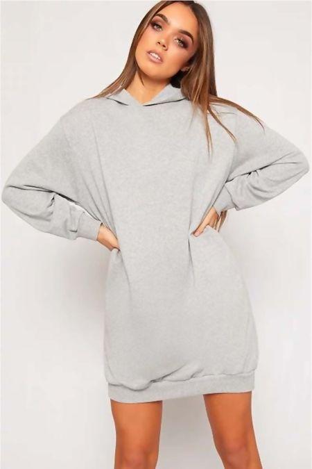 Grey Oversized Baggy Pocket Sweat Hood Dress