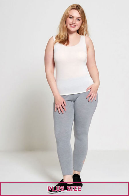 Grey Plus Size Laser Cut Leggings