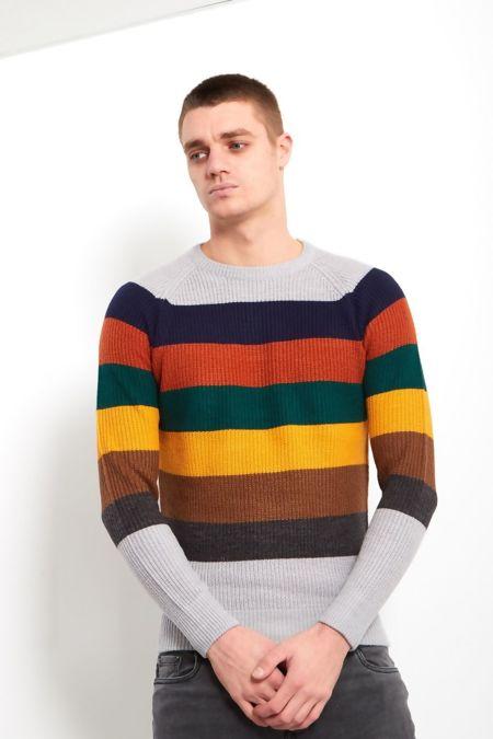 Grey Rainbow Colour Block Fine Knit Jumper