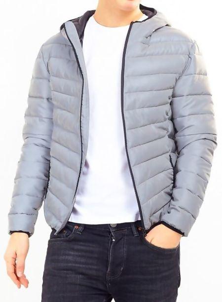 Grey Reflective Hooded Puffer Jacket
