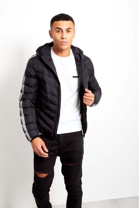 Grey Reflector Stripe Padded Hooded Jacket