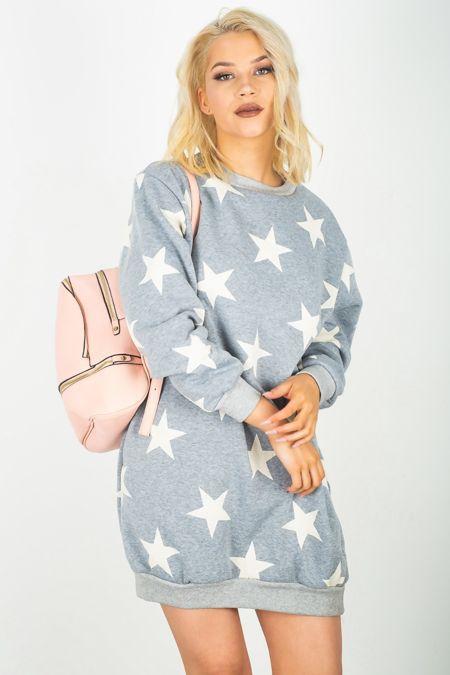 Grey Star Printed Sweat Dress
