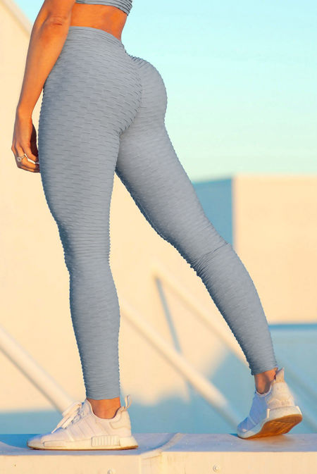 Grey Textured Scrunch Butt Gym Leggings