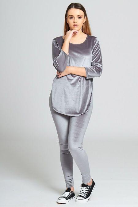 Grey Velvet Look Loungewear set