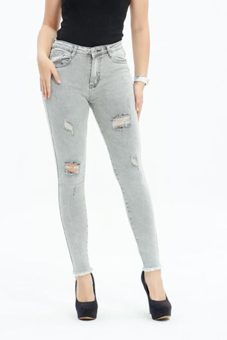 Grey Washed Distressed Skinny Jeans