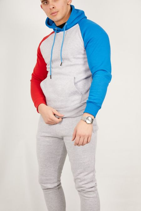 Grey With Spliced Sleeves Skinny Fit Tracksuit