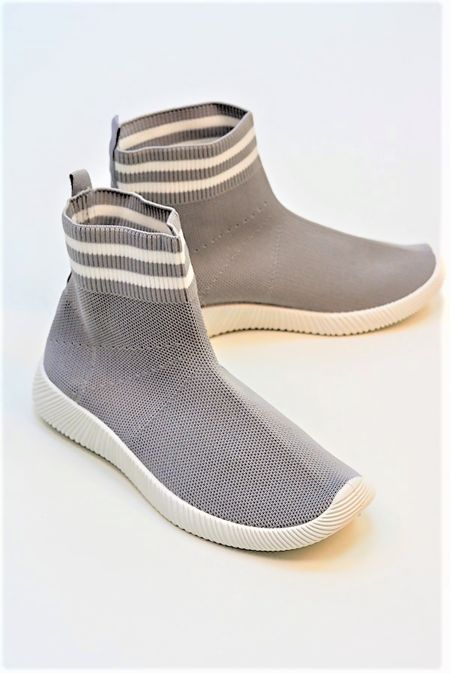 Grey With White Chunky Sole High Runner Sock Trainers