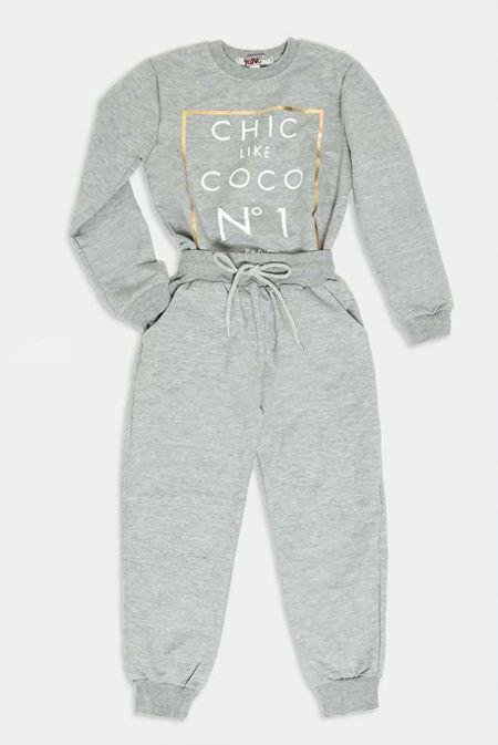 Girls Grey COCO Loungewear Set