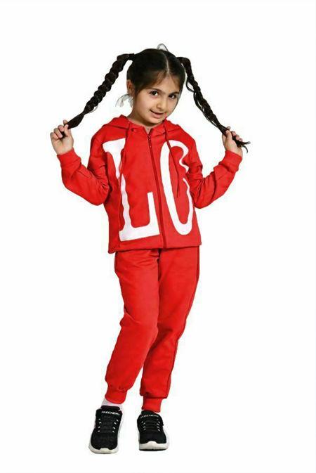 Girls Red LOVE Hooded Zip Up Loungewear Set
