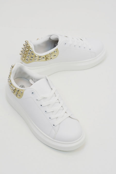 Gold Studded Back White Trainers