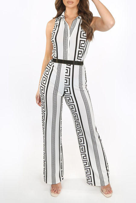Gucci Print Collared White Belted Jumpsuit