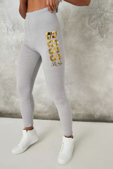 Grey Boss Lady Slogan Leggings