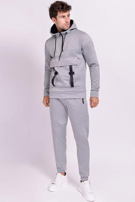 Grey Buckle Cargo Pocket Half Zip Skinny Tracksuit