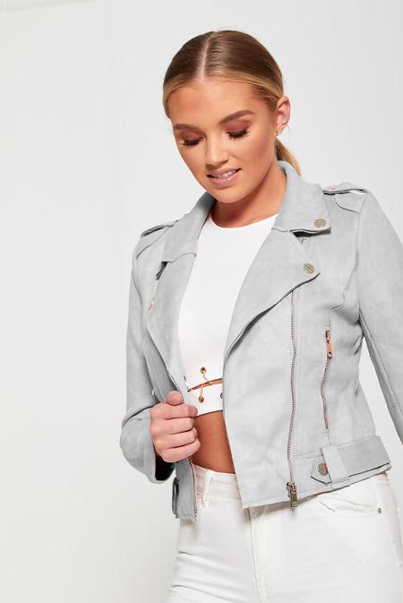 Grey Faux Suede Biker Jacket