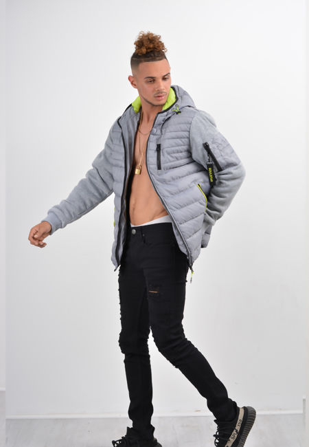 Grey Fleece Sleeve Puffer Jacket
