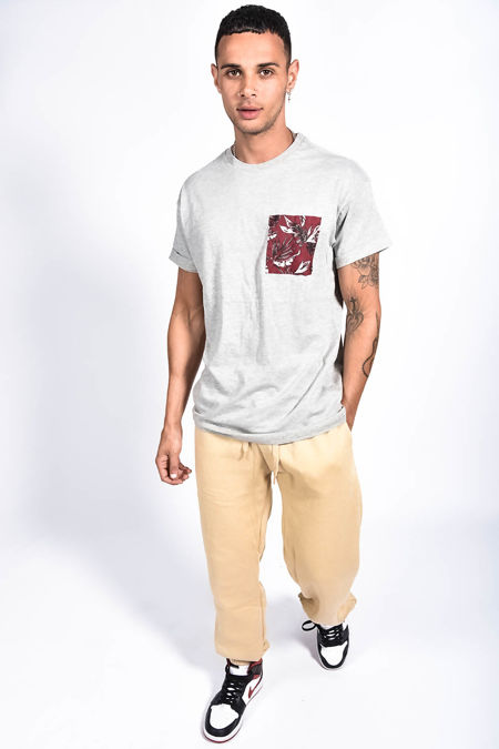Grey Floral Woven Pocket Tee