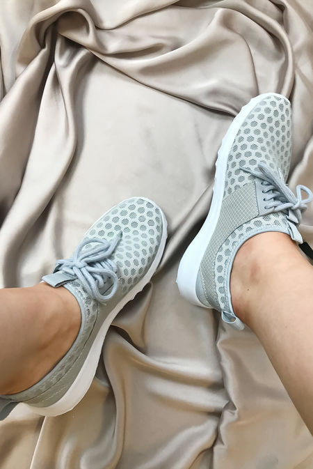 Grey Mesh Lace-Up Trainers