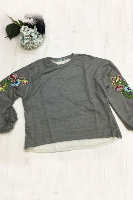 Grey Oversized Floral Embroidered Sweatshirt