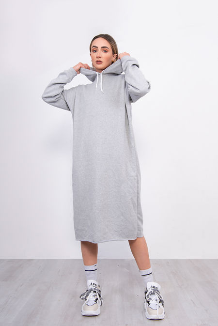 Grey Oversized Hooded Midi Sweater Dress