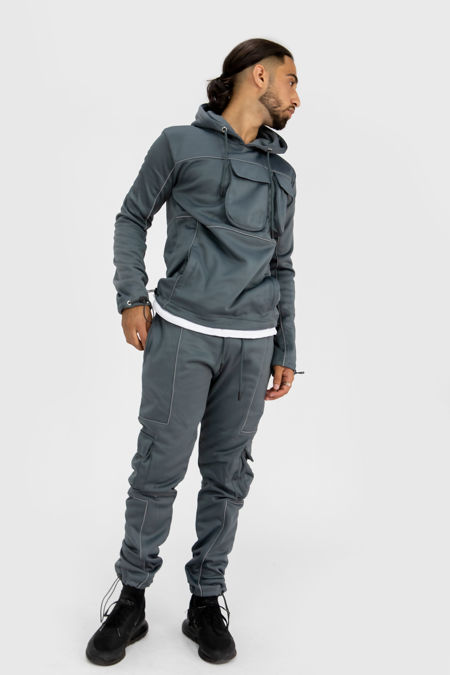 Grey Reflective Piped Pullover Cargo Tracksuit