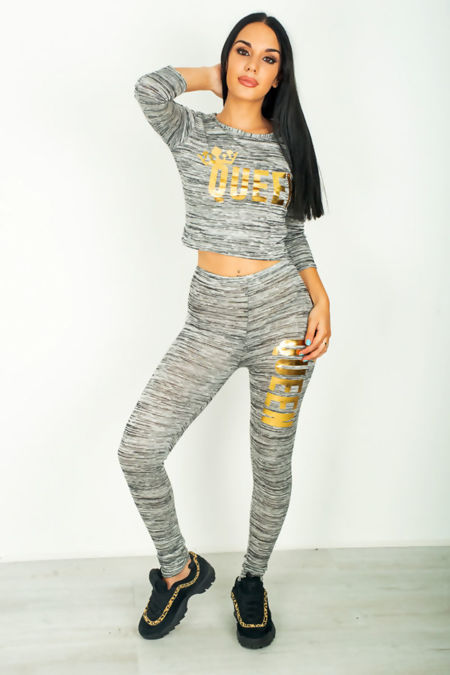 Charcoal The Queen Crop Tracksuit