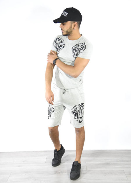Grey Tiger Logo Shorts and Tee Set
