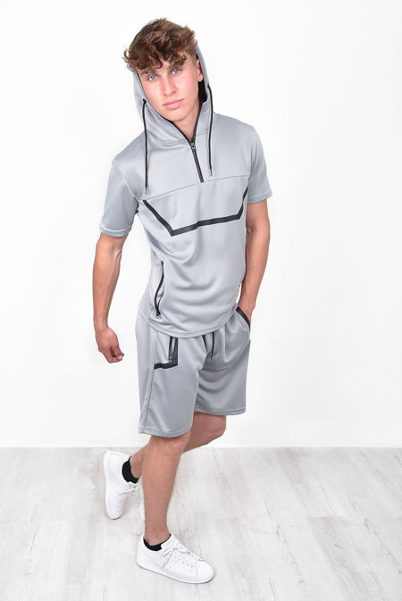 Grey With Black Panel Hoodie & Short Set