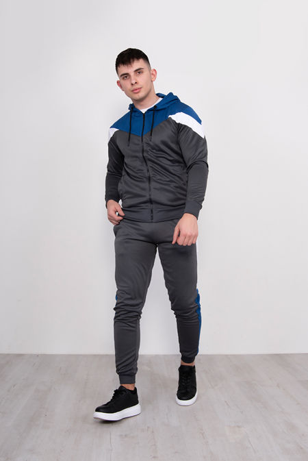 Grey With Royal Chevron Stripe Poly Tracksuit