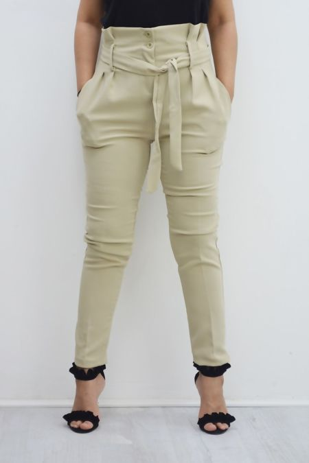 High Waist Belted Cigarette Trousers