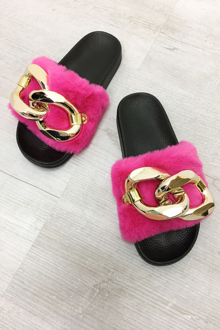 Hot Pink Faux Fur Chain Detail Slider