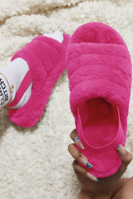 Hot Pink Faux Fur Fluffy Stripe Slipper