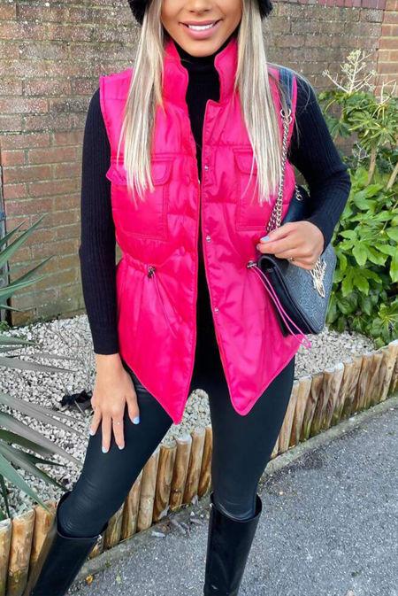 Hot Pink Pocket Front Puffer Gilet