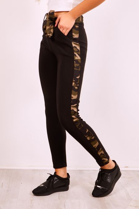 High Waist Camo Belted Trousers